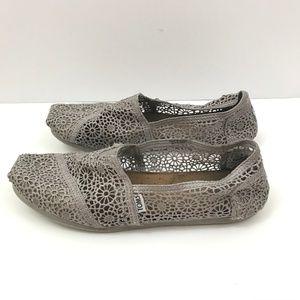TOMS Gray Crochet / Lace Classic Toms Size 11